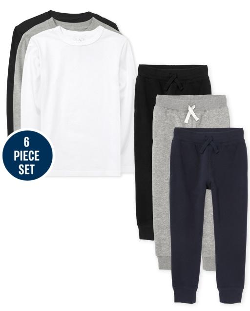 Boys Uniform Long Sleeve Layering Tees And Fleece Jogger Pants 6-Piece Set