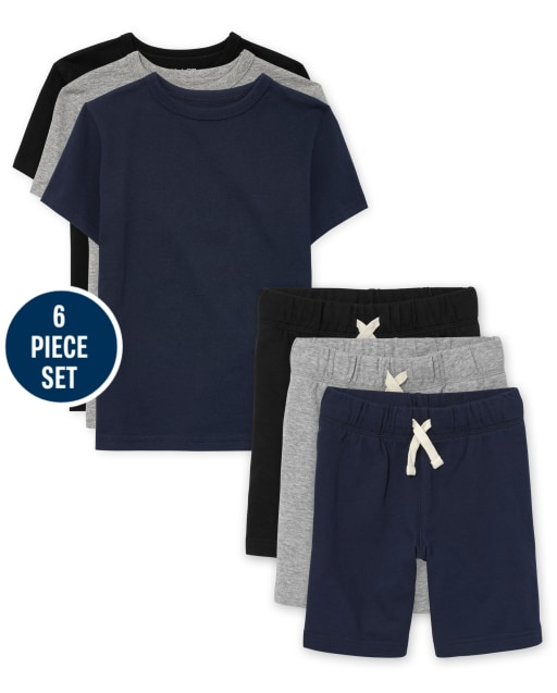 Boys Uniform Short Sleeve Layering Tees And French Terry Shorts 6-Piece Set