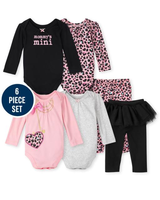 Conjunto de 6 piezas de body y pantalón de leopardo de manga larga Mix And Match para bebé niña