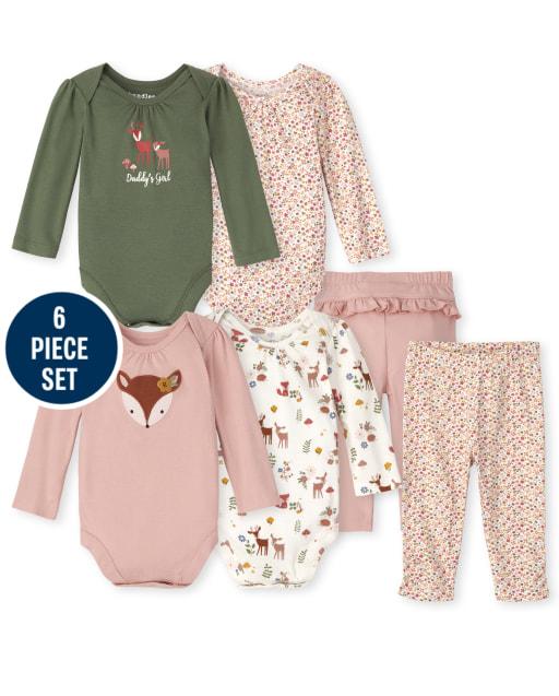 Conjunto de 6 piezas de body y pantalón de ciervo de manga larga Mix And Match para bebé niña