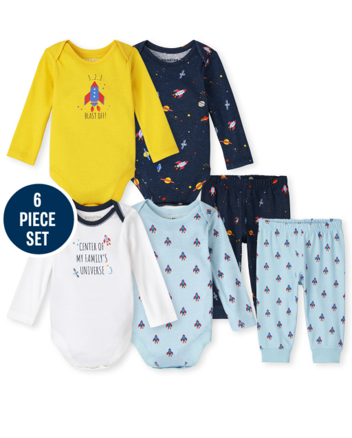 Baby Boys Mix And Match Long Sleeve Space Bodysuit And Pants 6-Piece Set