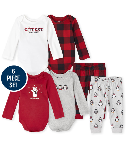 Baby Boys Mix And Match Long Sleeve Plaid Bodysuit And Pants 6-Piece Set