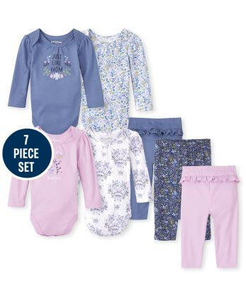 Baby Girls Mix And Match Floral 7-Piece Set