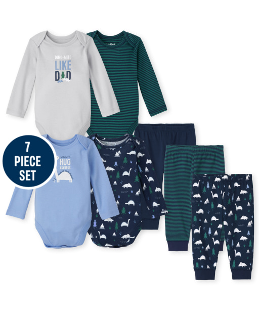 Baby Boys Mix And Match Long Sleeve Dino Bodysuit And Pants 7-Piece Set