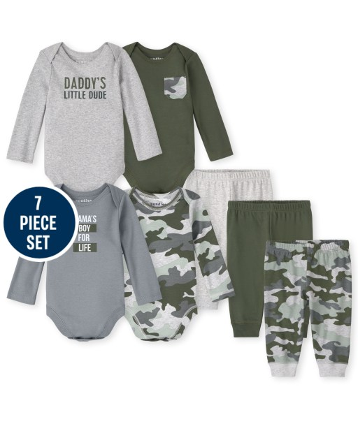 Baby Boys Mix And Match Long Sleeve Camo Bodysuit And Pants 7-Piece Set