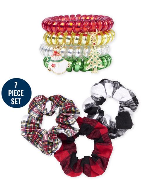Girls Christmas Scrunchie And Coil Bracelet 7-Piece Set