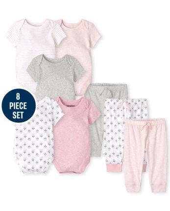 Baby Girls Heathered 8-Piece Set