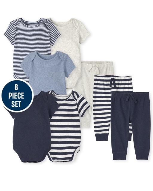 Baby Boys Short Sleeve Striped Bodysuit And Knit Pants 8-Piece Set