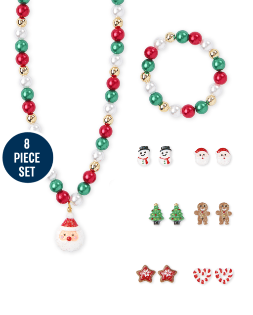 Girls Christmas Beaded Necklace And Earring 8-Piece Jewelry Set