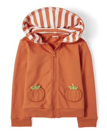 Girls Embroidered Zip Up Hoodie - Pumpkin Patch