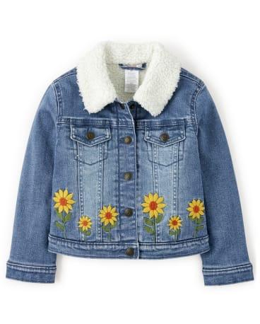 Girls Embroidered Sunflower Denim Jacket - Harvest