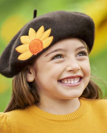 Girls Sunflower Beret - Harvest