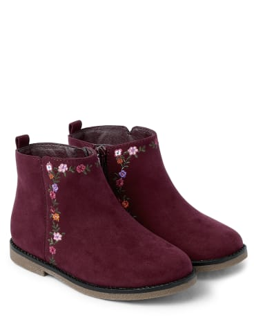 Girls Embroidered Floral Booties - Tree House
