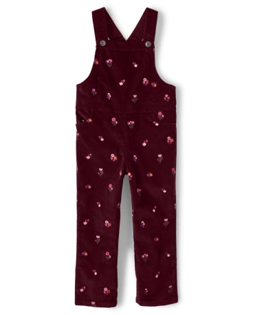 Girls Embroidered Floral Corduroy Overalls - Tree House