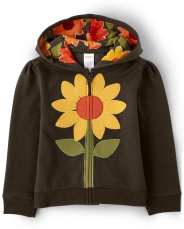 Girls Sunflower Zip Up Hoodie - Harvest