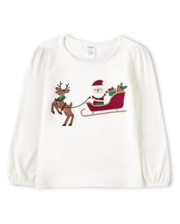 Girls Embroidered Santa's Sleigh Top - Ho Ho Ho