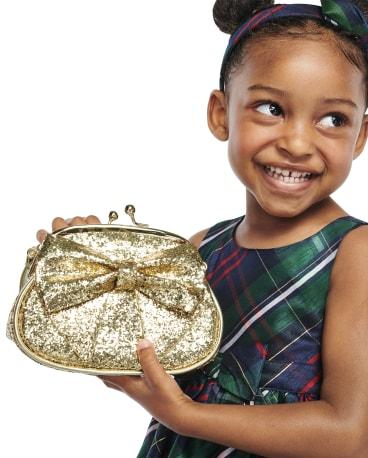 Girls Glitter Bow Bag - Family Celebrations Green