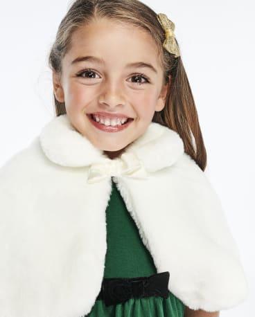 Girls Faux Fur Cape - Family Celebrations Green