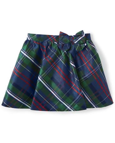 Girls Plaid Skirt - Family Celebrations Green