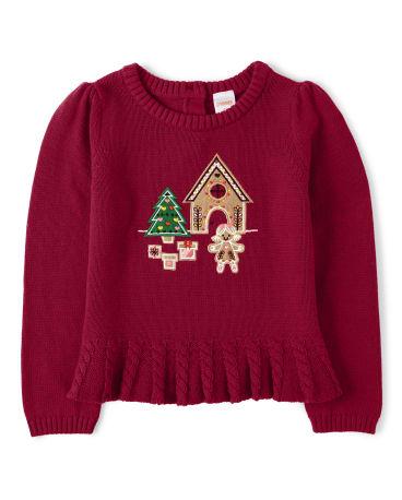 Girls Embroidered Gingerbread Peplum Sweater - Ho Ho Ho