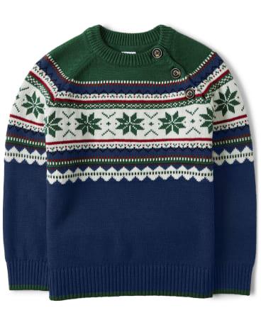 Boys Fairisle Sweater - Family Celebrations Green
