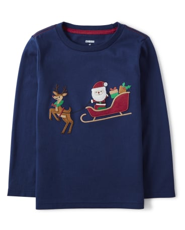 Boys Embroidered Santa's Sleigh Layered Top - Ho Ho Ho