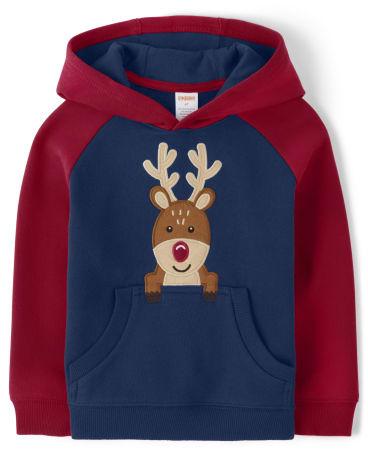 Boys Embroidered Reindeer Hoodie - Ho Ho Ho