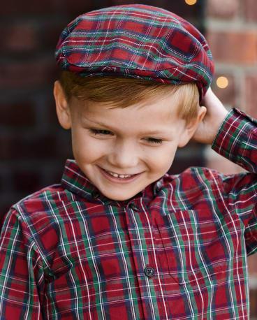 Boys Plaid Newsboy Hat - Family Celebrations Red