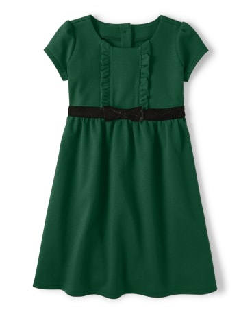 Girls Bow Ponte Dress - Family Celebrations Green