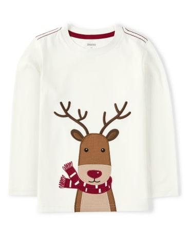 Boys Embroidered Reindeer Top - Reindeer Cheer