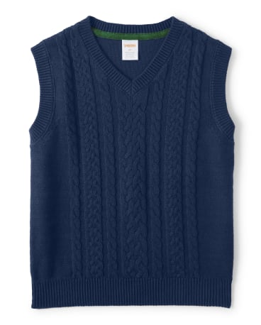Boys Cable Knit Sweater Vest - Family Celebrations Green