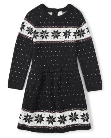 Girls Fairisle Sweater Dress - Reindeer Cheer