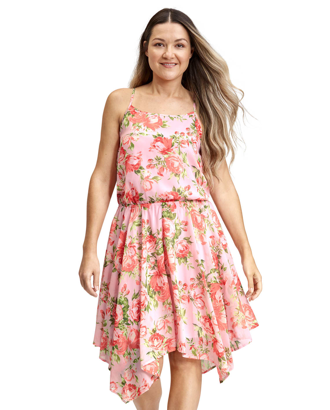 The Childrens Place Mommy and Me Floral Sharkbite Hem Women's Dress