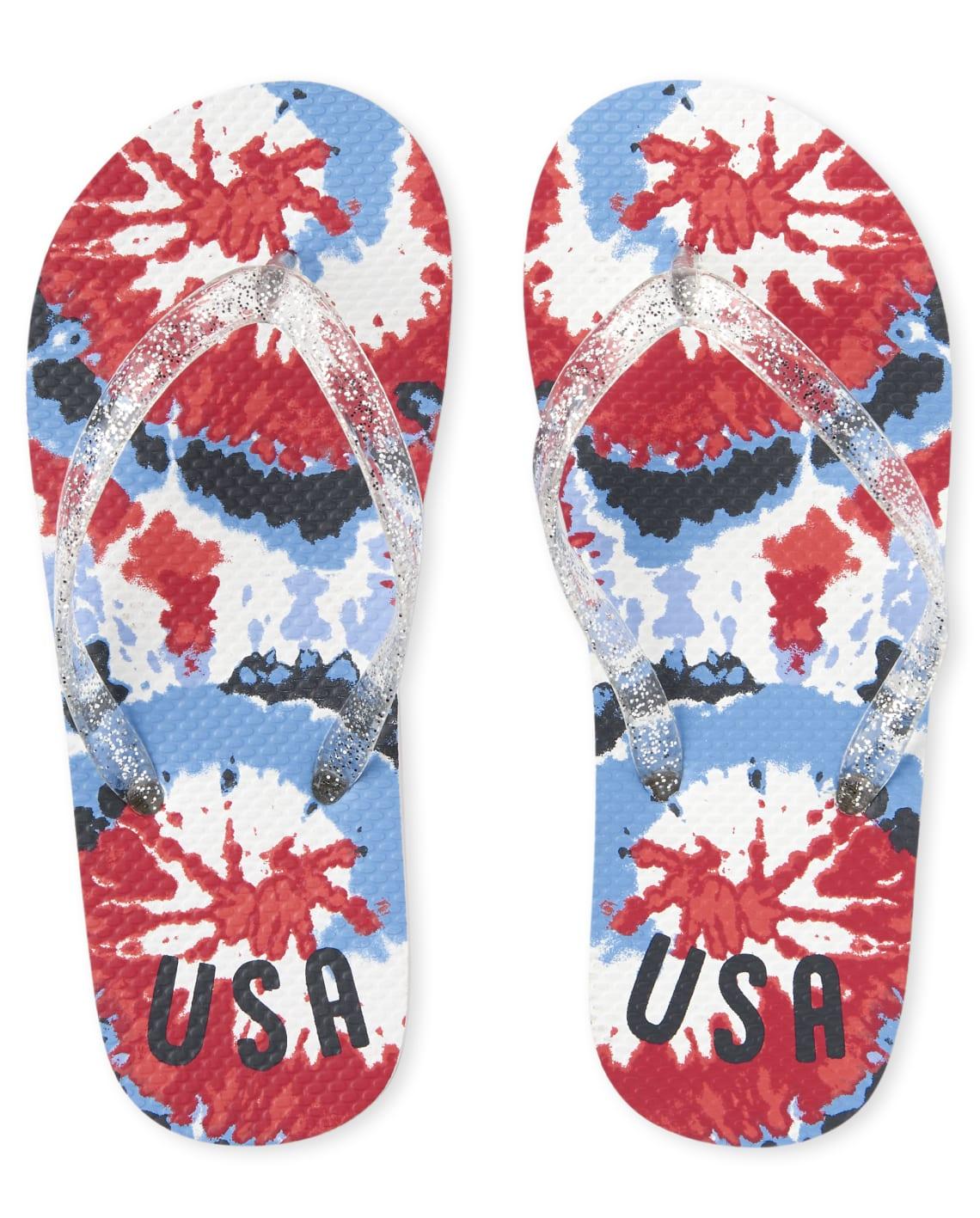 The Childrens Place Girls Americana Tie Dye Flip Flops