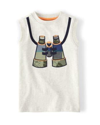 Boys Embroidered Binoculars Tank Top - Summer Safari