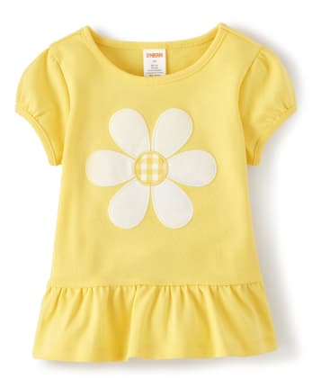 Girls Applique Peplum Top - Sunny Daisies