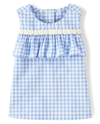 Girls Gingham Ruffle Top - Sunny Daisies