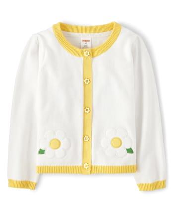 Girls Applique Flower Cardigan - Sunny Daisies