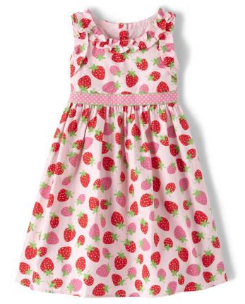 Girls Strawberry Ruffle Dress - Strawberry Patch