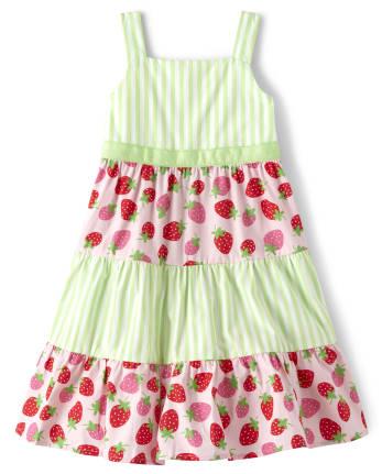 Girls Striped Tiered Dress - Strawberry Patch