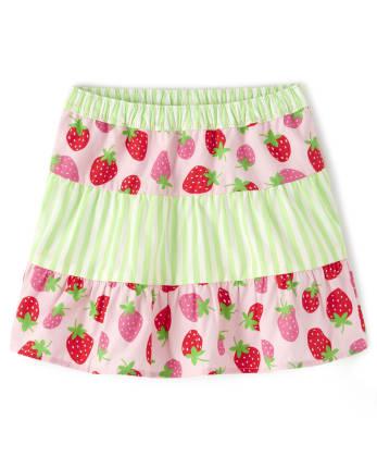 Girls Striped Tiered Skort - Strawberry Patch