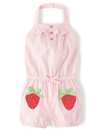 Girls Applique Seersucker Halter Romper - Strawberry Patch