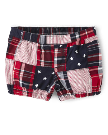 Girls Madras Bubble Shorts - American Cutie