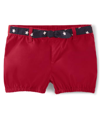 Girls Star Belted Shorts - American Cutie