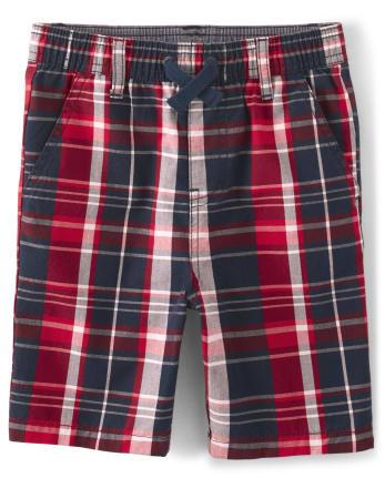 Boys Plaid Jogger Shorts - American Cutie