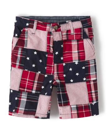 Boys Madras Chino Shorts - American Cutie