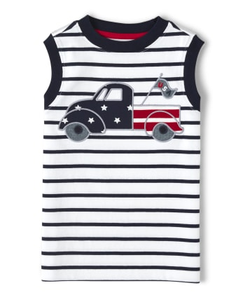 Boys Applique Truck Striped Tank Top - American Cutie