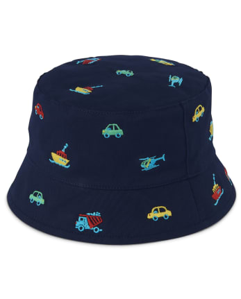 Boys Embroidered Transportation Bucket Hat - Travel Adventure