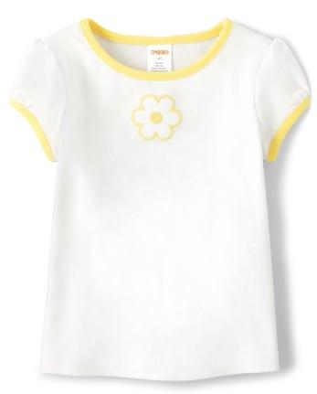 Girls Applique Flower Top - Sunny Daisies