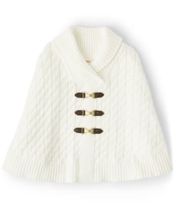 Girls Cable Knit Cape - Pony Club